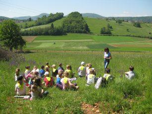 Žalski prvošolci na travniku