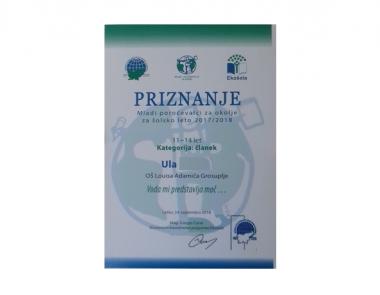 Priznanje – Mladi poročevalci za okolje za šolsko leto 2017/18